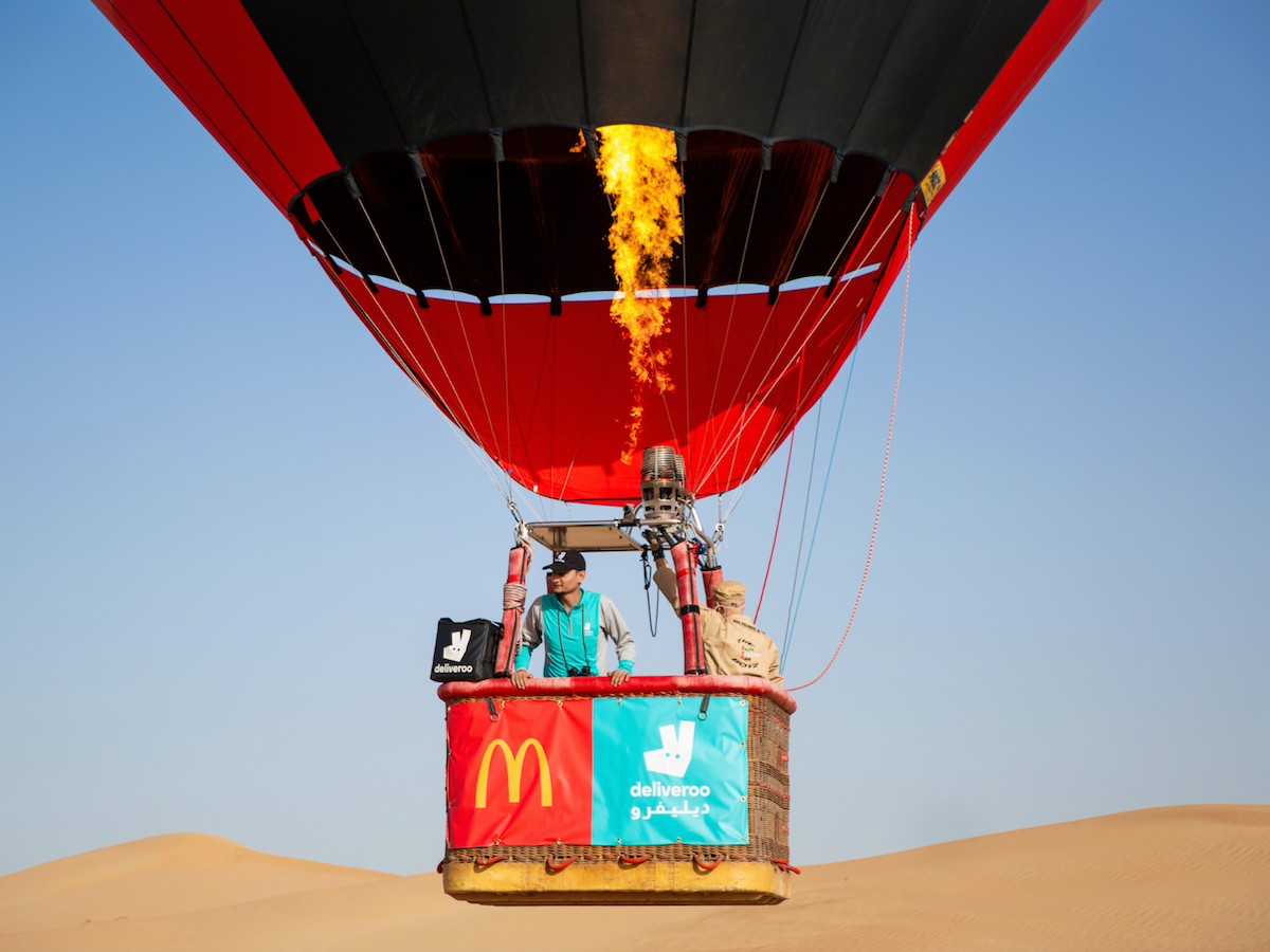 Deliveroo and McDonald's UAE complete the UAE's first ever hot air balloon delivery to a Dubai desert safari