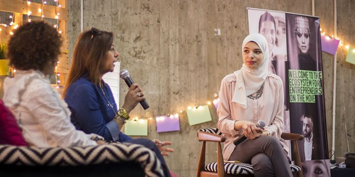 Immigrant Women Entrepreneurs Participating At Cairo's Women On the Move Present Their Business Ideas