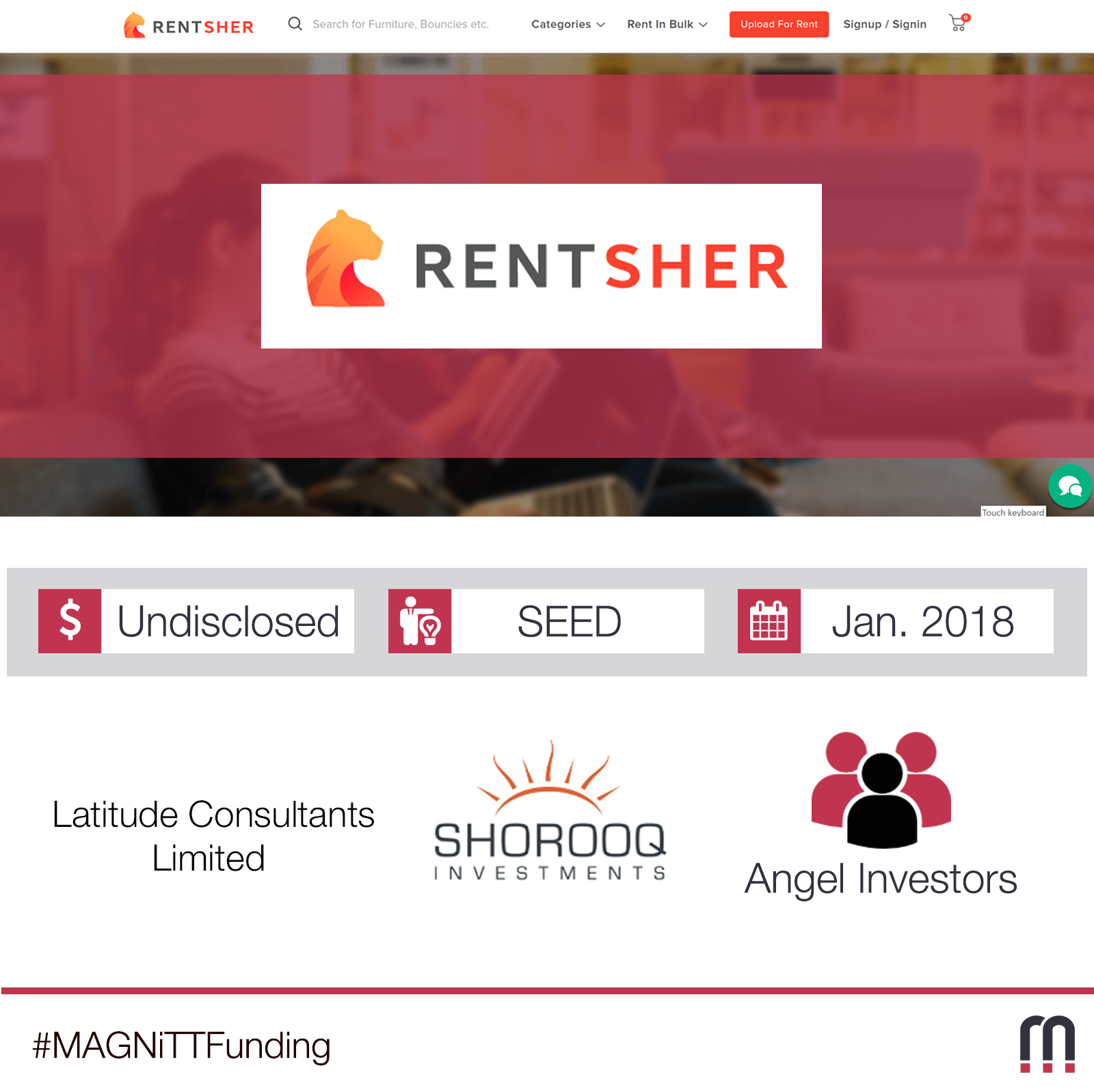 RentSher Middle East, region's first online marketplace for rentals for events, electronics, medical and travel, secures seed funding